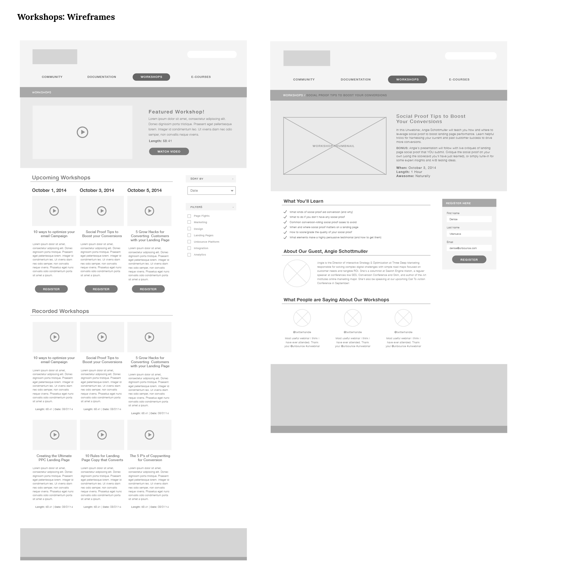Workshops Wireframes